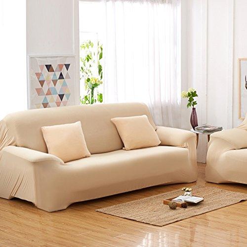 Sofás De 3 Plazas Covers 7 Colores Sólidos Estuche De Estiramiento Completo Tela Elástica Soft Sofá Funda Sofá Protector Muebles De Casa ( Color : Beige )