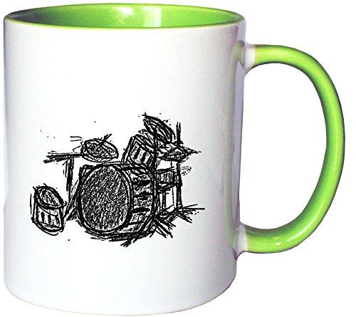 Mister Merchandise Kaffeetasse Becher Drums Drumset Drum Schlagzeug, Farbe: Weiß-Grün