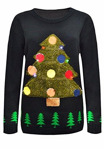 Janisramone De Las Mujeres De Los Hombres Nuevo Mujer Unisexo Hombres Árbol De Navidad Encender Rudolph Novedad LED Jumper Suéter
