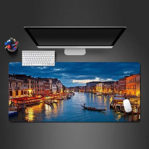 FBXOL Landschaft Mauspad Venedig Wasser Stadt Boot Licht Wird Für Game Player Big PalyMats Pads Büro Computer Tastatur Mauspad