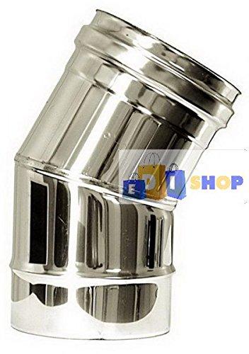 CHEMINEE PAROI SIMPLE TUYAU TUBE INOXIDABLE AISI 316 - dn 180 curva 30° canna fumaria tubo acciaio inox 316 parete semplice