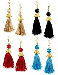 Zaveri Pearls Tassel Drop Earrings for Women (Golden) (ZPFK6428)