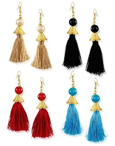 Zaveri Pearls Tassel Drop Earrings for Women (Golden) (ZPFK6428)