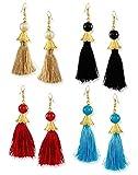 #10: Zaveri Pearls Tassel Drop Earrings for Women (Golden) (ZPFK6428)