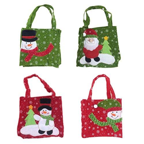 (Upstudio Stilvoll und raffiniert 4 stücke Taschen Tragbare Weihnachtsmann Kinder Süßigkeiten Taschen Handtasche Weihnachtsschmuck)