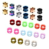 JSDDE Schmuck,Set 14 Paare 3-20mm Chirurgenstahl+Silikon Flesh Tunnel Ohr Plug Double Flared Ohrpiercing Klassisch Punk(10mm)