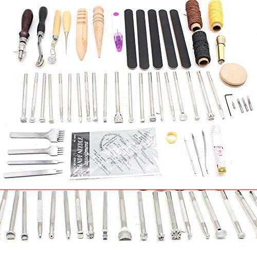 OUKANING Lederbearbeitungs-Set 59 Stück mit Nadeln und anderem Werkzeug zum Nähen von Hand (Nähen Von Hand-werkzeug)