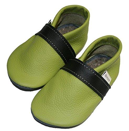 Krabbelschuhe Babyschuhe Jungen Mädchen lemongrün-schwarz