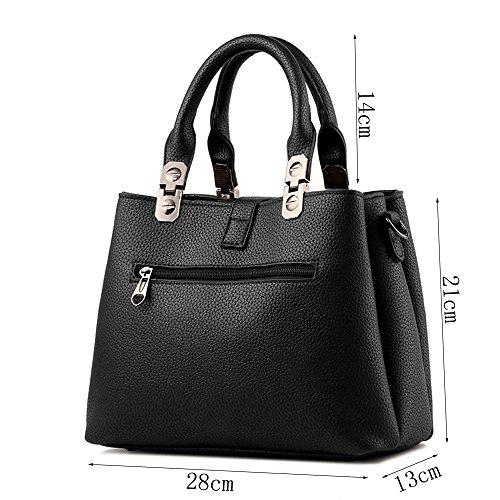Greeniris Damen Elegant Top Handle Handtasche PU-Leder Schultertasche Grau Weiß