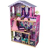 KidKraft 65082 Casa de muñecas de madera My Dream Mansion para muñecas de 30cm con 12 accesorios incluidos y 3 niveles de juego