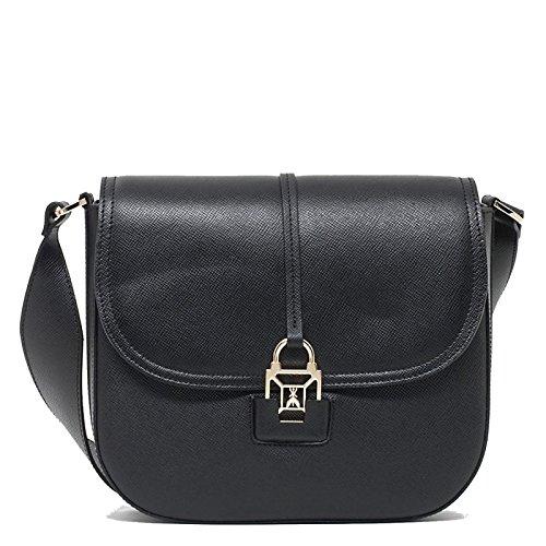 Patrizia Pepe Glam Leather Easy Lock Borsa a spalla nero