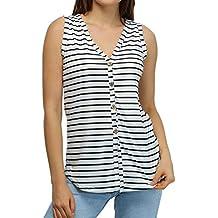 06181a97ec Camiseta de Tirantes para Mujer,riou Botón sin Mangas con Cuello en v  Chaleco a