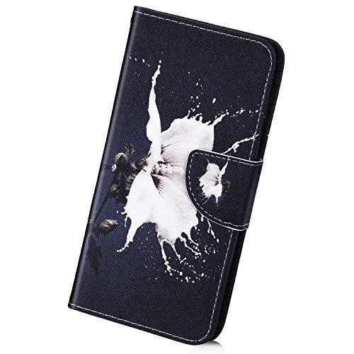 Herbests Kompatibel mit Huawei P20 Lite 2019 Handy Hülle Lederhülle Bunt Muster Handytasche Muster Flip Case Cover Leder Tasche Klapphülle Handschlaufe Kartenfächer Magnet,Weiß Blumen
