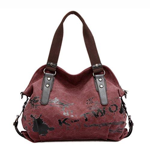 Umily Borsa tote da donna a mano di tela da viaggio casual Shopper-Rosso