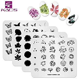 KADS Nail Art Stamp Plate Overprint Butterfly Flower Leaves Series Nail stamping plate Template Image Plate Nail Art DIY Decoration Tool
