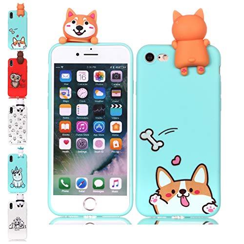 LA-Otter kompatibel füriPhone 5 5S SE Hülle Silikon UltraDünnSlim GummiBumperFolieSchutzhülleHandyhülleTascheSchalemit3D Motiv Muster Blau Corgi Hund