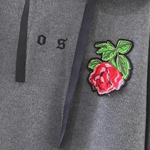 L'autunno E L'inverno Abbigliamento Femminile Grigio Tiro Alla Fune Il Ricamo Fragola Cuciture Abbigliamento Sportivo Con Cappuccio Grey