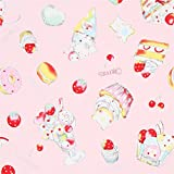 Rosa Wachstuch mit Donuts Törtchen Macarons von Lecien