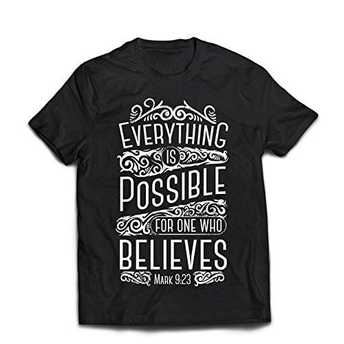 Männer T-Shirt Jesus Christus: Alles ist Möglich für Den, der glaubt - Christliche Religion, Glaube, Bibel - Ostern - Auferstehung (XX-Large Schwarz Mehrfarben)