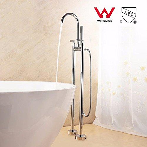 S UND CUPC-Stock Wasserhahn Chrom poliert Messing Dusche Wasserhahn Satz stehen mit Dusche mit abnehmbarem Duschkopf Mixer Dual Griff tippen ()