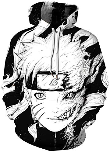 AMOMA Damen Anime Dragon Ball Naruto Bleach Hoodie Unisex 3D Digitaldruck Hoodies Sweatshirt Kapuzenpullover(S/M,Naruto)
