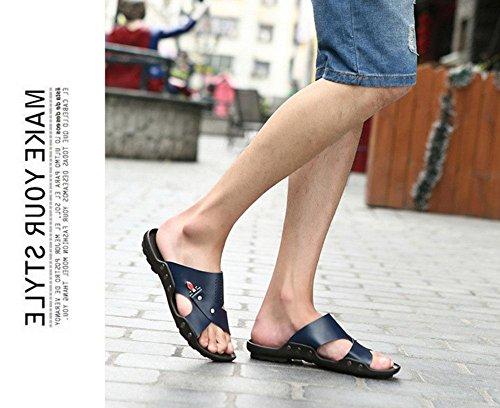 GLTER Sandali traspiranti esterni Pattini casuali di estate degli uomini Slip sulle pantofole della spiaggia delle pantofole Blue