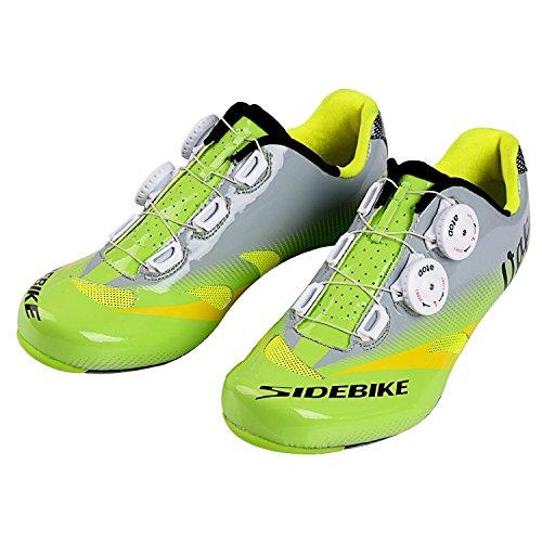 Unisexe respirant chaussures de vélo professionnels pour route et VTT SD-004 Vert / Gris pour le Route