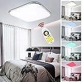 24W RGB LED Deckenleuchte Farben Auswahl Wohnzimmerlampe Ultraslim Bunt LED Deckenstrahler Beleuchtung Sparsame Dauerbeleuchtung[Energieklasse A++]