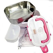 FAPPY Fiambreras bento EU-enchufe eléctrica con Bandeja extraíble acero inoxidable,Recipiente de comida térmico 40W (rosa)