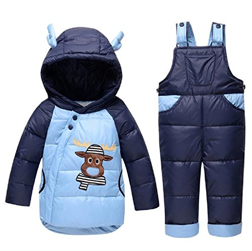 Winter Baby Boy Daunenjacken Kids Snowsuit Kinder Overalls Ski Anzug Junge Daunenjacke Oberbekleidung Mantel + Hose Kleidung Set Overall (3T(100cm), Blau)