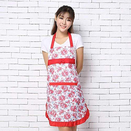 YonganUK Küche Damen Schürze Blumenmuster Küche Kochschürze Backen Schürze mit Taschen für Heim Koch, Backen Kochen Beim Grillen - Rot, Free Size (Koch-schürzen Extra Große)