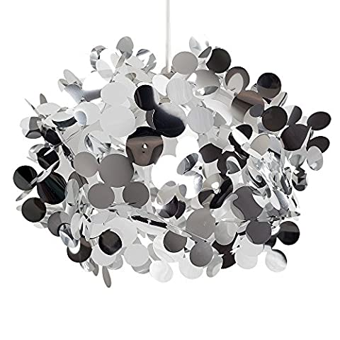 Modern Large Silver Bubble Effect Design Ceiling Pendant Light Shade - Complete with a 6w LED GLS Bulb [3000K Warm White]