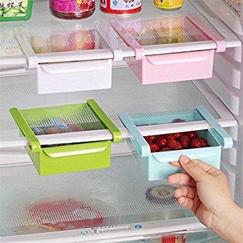 Kreative Aufbewahrungsbox für Kühlschrank mit Abstandshalterung, ausziehbare Schublade, Frischhaltehalter, Sortierung von Küchenutensilien
