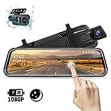 Jansite Specchio Retrovisore Auto 10 pollici Touchscreen, Posteriore e anteriore 1080P Mirror Dash Cam Specchietto Retrovisore con Cavi da 10m, Visione notturna grandangolare 170° Facile da Installare