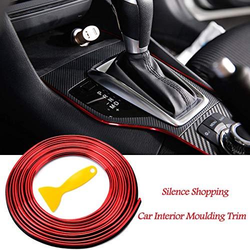 Silence Shopping Auto Decorativi 5M Universale Auto Interni Stampaggio Strisce Con Esclusivo Strumento di Installazione(Rosso)