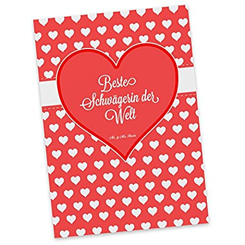 Mr. & Mrs. Panda Postkarte Beste Schwägerin der Welt - Schwägerin, Schwähgerin, Schwippschwägerin, Familie, Verwandtschaft, angeheiratet, Frau, Ehemann, Schwester, Ehefrau, Bruder, Partner Geschenk Geschenkidee Danke Dankeschön Anhänger Bedanken Geburtstag Weihnachten Jubiläum Schenken Liebe Danke Liebesgeschenk