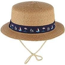 EOZY Sombrero de Paja de Sol Niño Niña Redondo Hat Verano Viaje b594c6eef7d