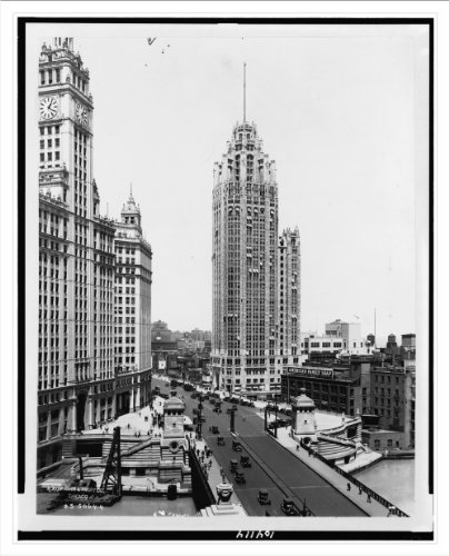 Historic Print (L): North Clark Street bridge and the Wrigley and Tribune Buildings, Chicago, Ill. / Kaufman by Library Images