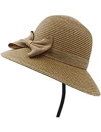 GBY Cappello Estivo da Donna Cappello da Sole Cappello da Sole Elegante da  Donna Folding Seaside Bowknot Cappelli da Spiaggia… 6d7516df1dfd