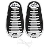 Di Ficchiano DF-Silikon-White Premuim No Tie Shoelaces für Kinder und Erwachsene/Flache elastische Schnürsenkel für Sneaker, Sport- und Freizeitschuhe