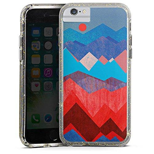 Apple iPhone 6 Bumper Hülle Bumper Case Glitzer Hülle Berge Pattern Muster Bumper Case Glitzer gold