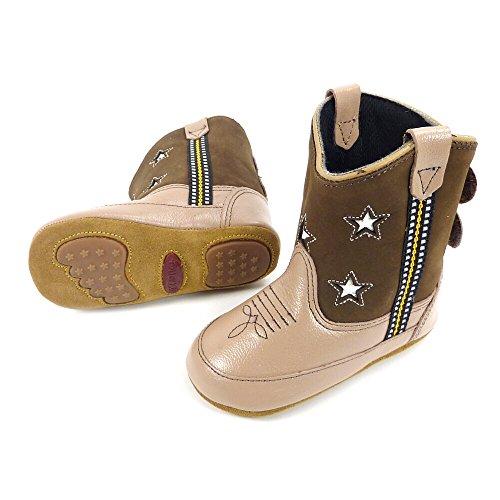Westernwear-Shop Baby Leder-Cowboystiefel Westernstiefel Boy Stars (Sterne) Baby-Westernstiefel Kinder-Westernstiefel Cowboy Boots für Jungen (4) Braun