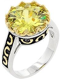 Eleganter Vintage Ring mit CZ Citrin, 14 Karat Weißgold Vermeil