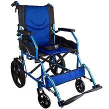 Silla de ruedas ligera | reposapiés, respaldo y reposabrazos acolchados | azul | Aluminio |