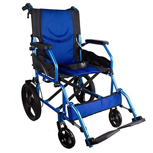 Mobiclinic, Silla de ruedas, Plegable, Aluminio, Frenos en manetas, Azul, Asiento 46...