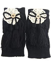TININNA 1 Par calentadores de la pierna suave Tejer crochet leggins calcetines Medias de punto de arranque de cubierta,Mujeres Chica de favorito-Negro