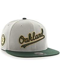 953591a2dd4f7 Gorra plana gris snapback con logo lateral de MLB Oakland Athletics de 47  Brand