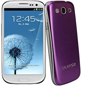 xubix Full Metal Akkudeckel für Samsung i9300 Galaxy S3 Lila Purple brushed Metall Aluminium mit dezent weißem Rand