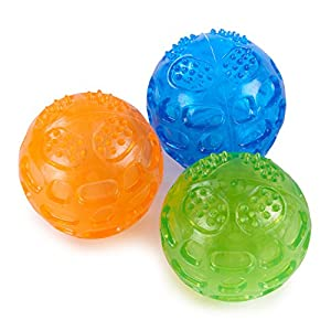 Louvra Balles Jouets Sonore 3 Pcs pour Chiens Caoutchouc Solide Et Résistant Indestructible Rebondissante pour Entraînement