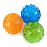 louvra Pet Quietschball für Hunde Spielzeug 7,5cm Langlebig und wasserdicht Frosty Chilled aus mit Glitschige Sound für Hunde Katze spielen Running, 3Packungen (orange, blau, grün)